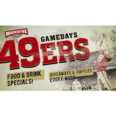 49ERS WATCH PARTY AND GIVEAWAYS AT MOONSHINE BEACH, Sunday, October 27th, 2019