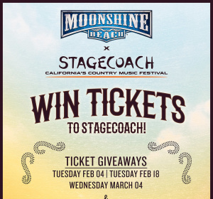 Stagecoach Giveaway at Moonshine Beach, Tuesday, February 18th, 2020
