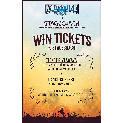 Stagecoach Giveaway at Moonshine Beach, Wednesday, March 4th, 2020