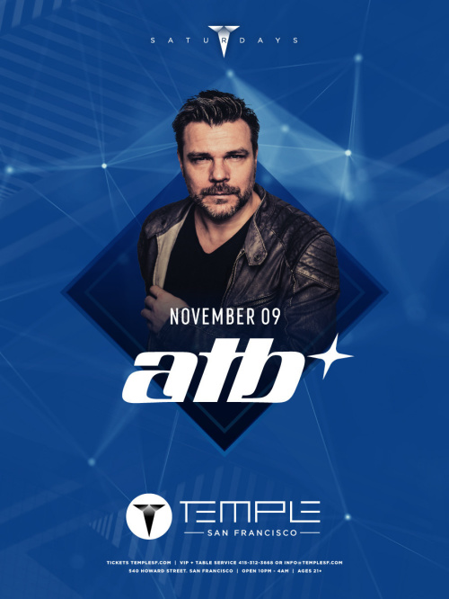 ATB - A New Life EP US Tour - Temple Nightclub