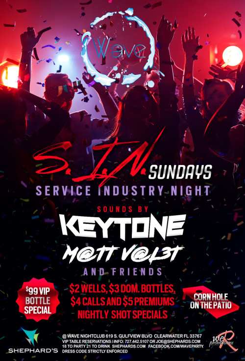 S.I.N. Sundays (Service Industry Night) - Wave Nightclub