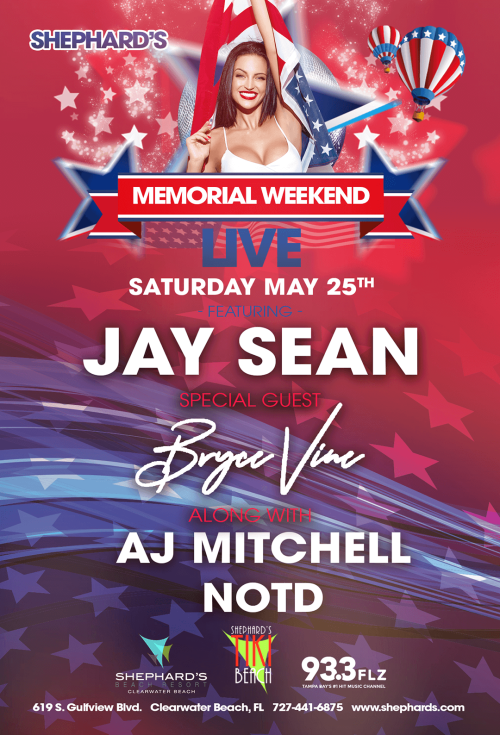 Jay Sean, Bryce Vine, AJ Mitchell, NOTD at Shephard's Memorial Day Weekend Party 2019 - Tiki Beach