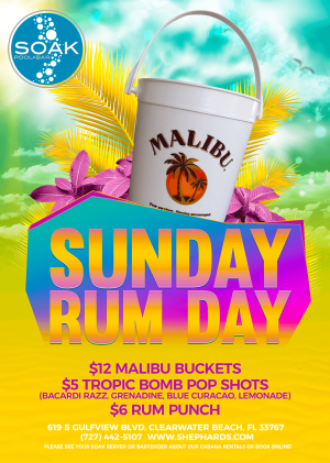 Sunday Rum Day at Soak Pool Bar, Sunday, July 26th, 2020