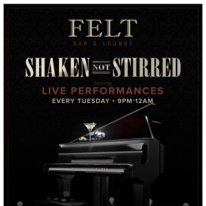 Shaken not Stirred, Tuesday, May 21st, 2019